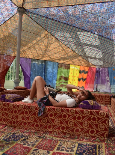 An art exhibit in the centre of the Palacio de Cristal titled Tuiza: the Cultures of the Tent by Federico Guzman. It was literally a giant blanket fort!